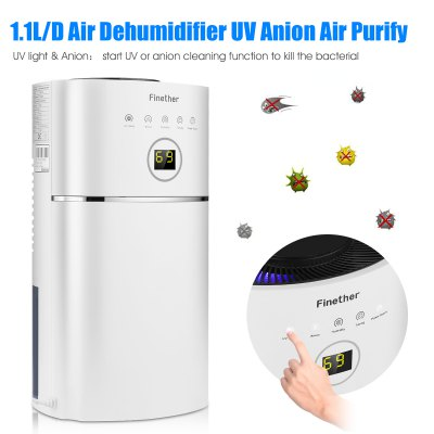 Finether 1.1L/D Digital Air Dehumidifier Anion UV Air Purify Portable Lightweight Low Energy Home Wardrobe Bathroom Kitchen Damp Moisture UK
