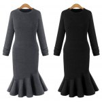 Buy Elegant Sweater Dress 2016 Fall Womens Sexy Long Sleeve Thicken Party Slim Fit Package Hip Knitted Fishtail Sweaters Dresses Ladies 3XL BLACK