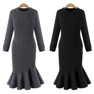 Elegant Sweater Dress 2016 Fall New Arrival  Womens Sexy Dress Long Sleeve Thicken Party Slim Fit Package Hip Knitted Fishtail Sweaters Dresses For LadiesMidi-Dress<br>Elegant Sweater Dress 2016 Fall New Arrival  Womens Sexy Dress Long Sleeve Thicken Party Slim Fit Package Hip Knitted Fishtail Sweaters Dresses For Ladies<br>