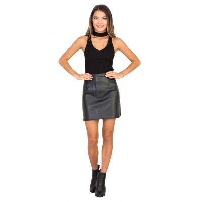 PU Skirt new fashion simple style womens high-rise slim slit and center back zipper design solid color mini skirt with lining