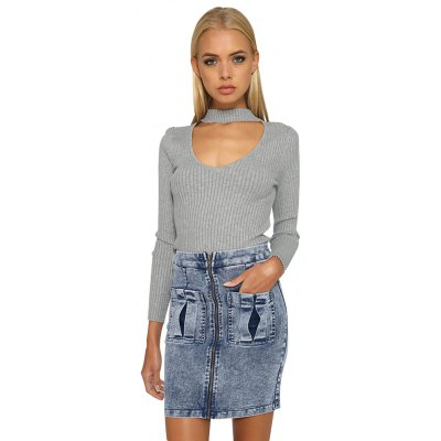 Woman sweater tops new fashion casual style cardigan womens stand collar with V-neck cut and long sleeve design solid color loose high-strench slim textured warm sweater pullover