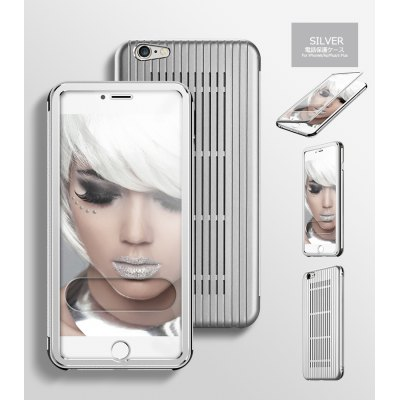aluminum metal grille with PC panel flip leather case for iPhone 6P  5.5inch