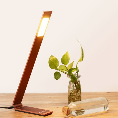 (EU TABLE LAMP L SHAPE)Finether 6W Minimalist L-Shaped Aluminum Folding LED Desk Lamp Table Lamp with Adjustable Arm and In-Line ON/OFF Switch for Reading Study Bedroom Office Dorm Hotel, Bronze