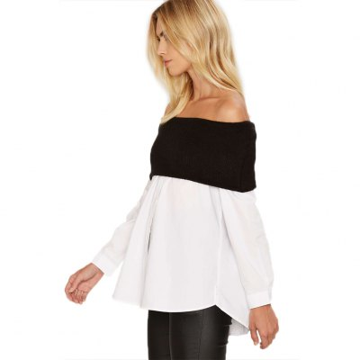 Woman tops new fashion casual style blouse womens sexy off-the-shoulder contrast materials splicing fine-knit fold-over neckline long sleeve and hi-lo curved hem design shirtBlouses<br>Woman tops new fashion casual style blouse womens sexy off-the-shoulder contrast materials splicing fine-knit fold-over neckline long sleeve and hi-lo curved hem design shirt<br>