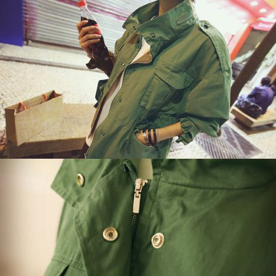 Autumn winter casual  cool style zipper collar four pocket 2016 new style long sleeve  woman army uniform coatJackets &amp; Coats<br>Autumn winter casual  cool style zipper collar four pocket 2016 new style long sleeve  woman army uniform coat<br>