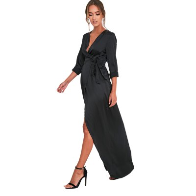 Woman rompers new fashion elegant style jumpsuit womens surplice V neckline long sleeve high-rise and hi-lo hem design siamese culottes with maxi skirtLong Sleeve Dresses<br>Woman rompers new fashion elegant style jumpsuit womens surplice V neckline long sleeve high-rise and hi-lo hem design siamese culottes with maxi skirt<br>