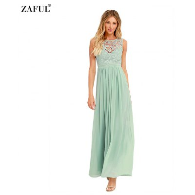 Woman lace dress sexy elegant style party dress womens crochet-lace crew neck sleeveless backless ruffles and high-rise design fitted solid color maxi chiffon dress