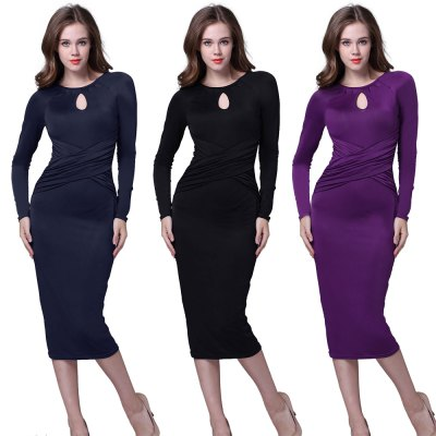 Kenancy Retro Pencil Dress Elegant Water Droplets Hollow Round Neck Long-Sleeved Fold Dress For WorkwearBodycon Dresses<br>Kenancy Retro Pencil Dress Elegant Water Droplets Hollow Round Neck Long-Sleeved Fold Dress For Workwear<br>