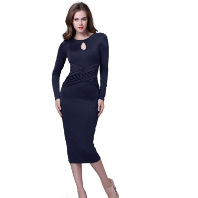 Kenancy Retro Pencil Dress Elegant Water Droplets Hollow Round Neck Long-Sleeved Fold Dress For Workwear