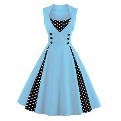 Fashion vintage polka dot printing dress women retro style square collar sleeveless knee length dress defined waist elegant big swing dressSleeveless Dresses<br>Fashion vintage polka dot printing dress women retro style square collar sleeveless knee length dress defined waist elegant big swing dress<br>