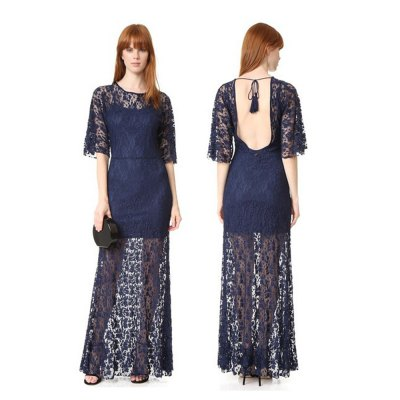Sexy round neck backless perspective lace half sleeve woman tassels rope slim lace dressMaxi Dresses<br>Sexy round neck backless perspective lace half sleeve woman tassels rope slim lace dress<br>