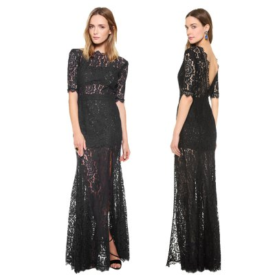 Sexy high collar  backless perspective lace half sleeve woman slim slit  lace dressMidi-Dress<br>Sexy high collar  backless perspective lace half sleeve woman slim slit  lace dress<br>
