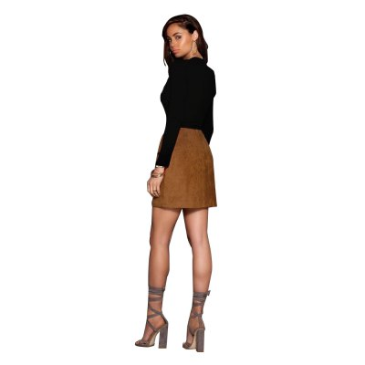 Woman suede mini skirt new fashion causal style skirt Womens high-rise criss-cross and symmetrical design thicken soft high-stretch mini suede skirt with pocketsSkirts<br>Woman suede mini skirt new fashion causal style skirt Womens high-rise criss-cross and symmetrical design thicken soft high-stretch mini suede skirt with pockets<br>