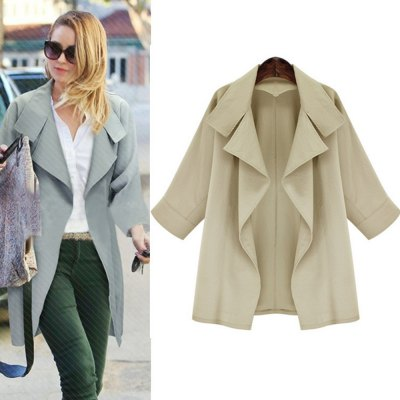 Autumn casual big lapel long sleeve coat 2016 new arrival fashion woman two color overcoatJackets &amp; Coats<br>Autumn casual big lapel long sleeve coat 2016 new arrival fashion woman two color overcoat<br>