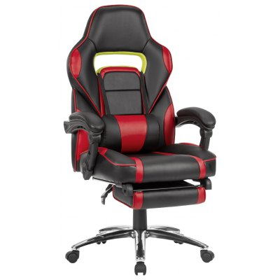 (US ML-7384 RED) LANGRIA Ergonomic High-Back Faux Leather Racing Style Reclining Computer Gaming Executive Office Chair with Padded Footrest and Lumber Cushion, Adjustable Seat Height, 360 Degree Swiv