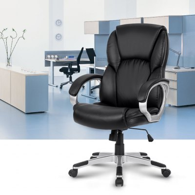 LANGRIA Modern Ergonomic Mid-Back Leather Office Chair
