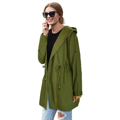 2016 Autumn Spring new style hooded rope woman long sleeve pocket pure color coat