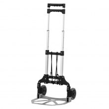 (TROLLEY BLACK) Finether Multi-Purpose Height-Adjustable Aluminum Folding 2-Wheel Hand Truck Dolly Sack Truck Trolley with Free Bungee Cord, Lightweight Portable Cart Trolley for Indoor Outdoor Travel