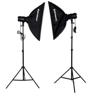 Excelvan 220W *2 Strobe Studio Photography Photo Flash Light Kit – Strobes+ Barn Doors+ Light Stands+ Triggers+ Soft Box