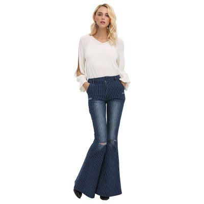 Woman flare jeans 2016 new arrival fashion vintage style denim pants high-rise pinstripes destructed and fading design fit&amp;flare jeansJeans<br>Woman flare jeans 2016 new arrival fashion vintage style denim pants high-rise pinstripes destructed and fading design fit&amp;flare jeans<br>