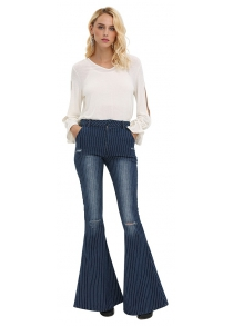 Woman flare jeans 2016 new arrival fashion vintage style denim pants high-rise pinstripes destructed and fading design fit&flare jeans