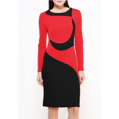Kenancy Vintage Sheat Dress Long Sleeve Hit Color Stitching Dress Women Autumn Winter Pencil Dress Wear To WorkBodycon Dresses<br>Kenancy Vintage Sheat Dress Long Sleeve Hit Color Stitching Dress Women Autumn Winter Pencil Dress Wear To Work<br>