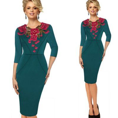 kenancy Womens Stylish Elegant Applique embroidery Crochet V-neck Work Office Bodycon Female 3/4 Sleeve Sheath Party DressBodycon Dresses<br>kenancy Womens Stylish Elegant Applique embroidery Crochet V-neck Work Office Bodycon Female 3/4 Sleeve Sheath Party Dress<br>