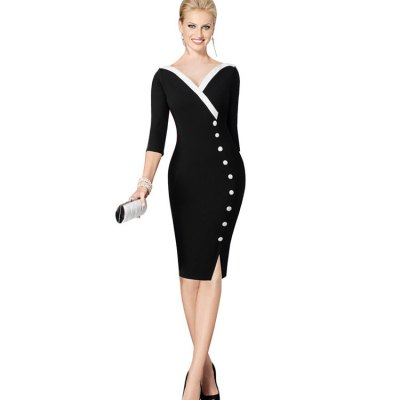 Kenancy Retro Style Pencil Dress Fashion Stitching V-neck Exquisite Button Decoration Women Three Quarter Sleeve Pencil Dress Work Party WearBodycon Dresses<br>Kenancy Retro Style Pencil Dress Fashion Stitching V-neck Exquisite Button Decoration Women Three Quarter Sleeve Pencil Dress Work Party Wear<br>
