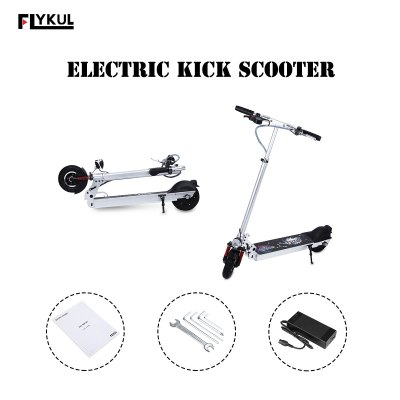 Flykul® 8 Inches Foldable Mini Electric Kick Scooter with Cool LED Lights, High-capacity 36V 8800mAh Li-Ion Battery, 350 Watt Motors, 3 Gear Speeds, Max 30km/h,100kg Max Load, Electronic Braking Syste