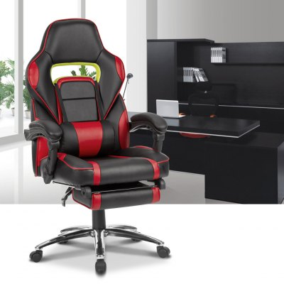 (DE ML-7384 RED) LANGRIA Ergonomic High-Back Faux Leather Racing Style Reclining Computer Gaming Executive Office Chair with Padded Footrest and Lumber Cushion, Adjustable Seat Height, 360 Degree Swiv