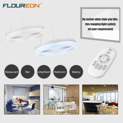 Floureon® Wireless Remote Control Infinite Dimming 24W LED Hanging Light, 2100lm, 180-265V, 3000K-6500K Adjustable. Height Adjustable. Widely Use, Suitable for Living Room, Kitchen, Hotel, Meeting Roo