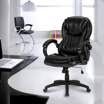 LANGRIA Luxury Ergonomic Mid-Back Faux Leather Office Chair