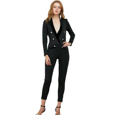 Women jumpsuit new arrival fashion office style spring and fall stitching jumpsuit solid color deep V-neck long sleeve jumpsuitJumpsuits &amp; Rompers<br>Women jumpsuit new arrival fashion office style spring and fall stitching jumpsuit solid color deep V-neck long sleeve jumpsuit<br>
