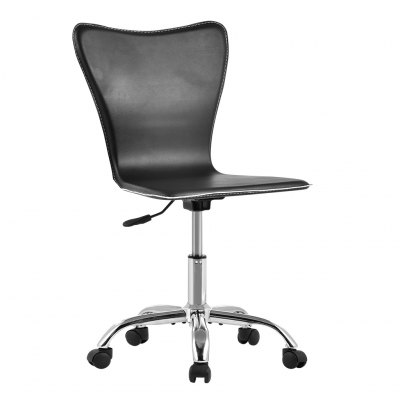 (US TCT010 BLACK ARMLESS) Mid-Back Hight-Adjustable Armless Basic Faux Leather Computer Studio Task Office Chair with 360 Degree Swivel, BlackOffice Standing Desk<br>(US TCT010 BLACK ARMLESS) Mid-Back Hight-Adjustable Armless Basic Faux Leather Computer Studio Task Office Chair with 360 Degree Swivel, Black<br>