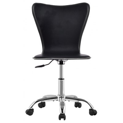 (US TCT010 BLACK ARMLESS) Mid-Back Hight-Adjustable Armless Basic Faux Leather Computer Studio Task Office Chair with 360 Degree Swivel, Black