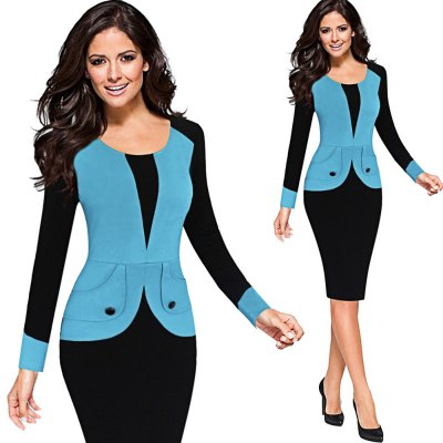 Kenancy  Elegant Pencil Dress Women Round Collar Button Patchwork Full Sleeve Dress Bodycon Slim Dress Wear To WorkBodycon Dresses<br>Kenancy  Elegant Pencil Dress Women Round Collar Button Patchwork Full Sleeve Dress Bodycon Slim Dress Wear To Work<br>