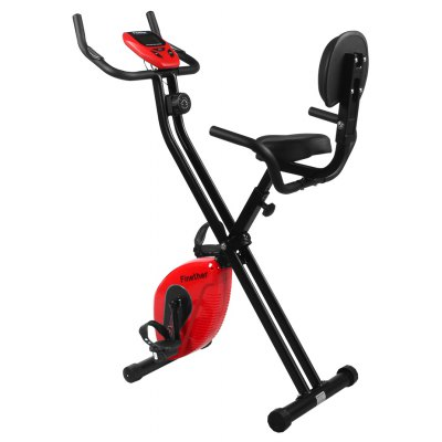(MAGNETIC BIKE) Finether Folding Adjustable Magnetic Upright Exercise Bike Fitness Equipment Work Out Machine with Padded Back and Seat Cushion, PE Foam Wrapped Handle Bars, LCD Monitor and Pulse Sens