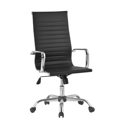 (FR CCA049) Finether High-Back Ribbed PU Leather Swivel Executive Office Chair with Knee-Tilt, Black