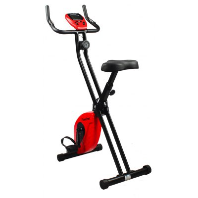 (MAGNETIC BIKE) Finether Folding Adjustable Magnetic Upright Exercise Bike Fitness Equipment Work Out Machine with LCD Monitor and Pulse Sensors, 220 lbs Capacity