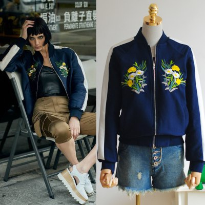 2016 Autumn Spring new style stand collar embroidery woman bump-color long sleeve Baseball uniform jacket