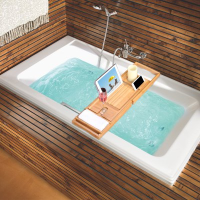 (BATHTUB CADDY)LANGRIA 100% Natural Bamboo Bathtub Caddy Over-the-Tub Tray Organizer with Extendable Sides, Removable Sliding tray, Non-Slip Rubber Base, Waterproof Cloth Book/Pad/Tablet Holder, SlideOther Bathroom Accessories<br>(BATHTUB CADDY)LANGRIA 100% Natural Bamboo Bathtub Caddy Over-the-Tub Tray Organizer with Extendable Sides, Removable Sliding tray, Non-Slip Rubber Base, Waterproof Cloth Book/Pad/Tablet Holder, Slide<br>