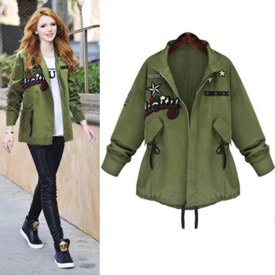 Bomber Jackets Women 2016 Fall New Arrival Fashion Womens Army Green Jacket Applique Wide Waist Designer Outwear  Mujer Slim Long Section 5xl Green Military Coat