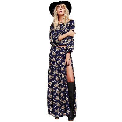 2016 new arrival high quality printed maxi dress woman one line collor split dress waisted hollow evening dress elegant dressMaxi Dresses<br>2016 new arrival high quality printed maxi dress woman one line collor split dress waisted hollow evening dress elegant dress<br>