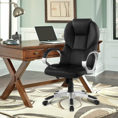 (FR ACA016 Office Chair)Finether Modern Ergonomic High-Back Faux Leather Executive Office Chair with with Knee Tilt Mechanism and 360 Degree Swivel, BlackOffice Standing Desk<br>(FR ACA016 Office Chair)Finether Modern Ergonomic High-Back Faux Leather Executive Office Chair with with Knee Tilt Mechanism and 360 Degree Swivel, Black<br>