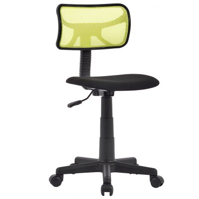 (FR TCT052 OFFICE CHAIR) Finether Mid-Back Armless Basic Computer Office Task Chair with 180 Degree Rotating Mesh Backrest, Padded Seat and Twin Wheel Casters, Adjustable Height, 360 Degree Swivel, Gr