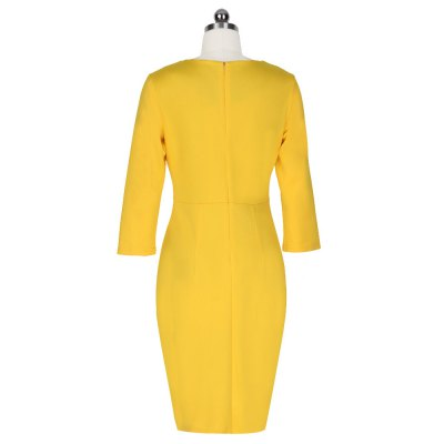 Kenancy  Fashion Simple Sheath Dress Wear To Work Exquisite Buttons Three Quarter Sleeve Women Slim Pencil DressBodycon Dresses<br>Kenancy  Fashion Simple Sheath Dress Wear To Work Exquisite Buttons Three Quarter Sleeve Women Slim Pencil Dress<br>