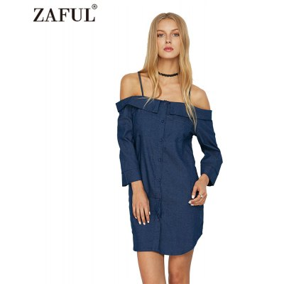 Woman cami denim shirt dress new fashion casual style dress womens sexy lapel off-the-shoulder straight neckline 3/4-sleeve and tulip hem design loose denim cami shirt dress with pockets