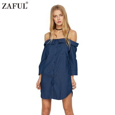 Woman cami denim shirt dress new fashion casual style dress womens sexy lapel off-the-shoulder straight neckline 3/4-sleeve and tulip hem design loose denim cami shirt dress with pocketsSleeveless Dresses<br>Woman cami denim shirt dress new fashion casual style dress womens sexy lapel off-the-shoulder straight neckline 3/4-sleeve and tulip hem design loose denim cami shirt dress with pockets<br>
