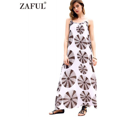 2016 summer casual national printing backless loose woman braces dress