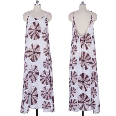 2016 summer casual national printing backless loose woman braces dressSleeveless Dresses<br>2016 summer casual national printing backless loose woman braces dress<br>